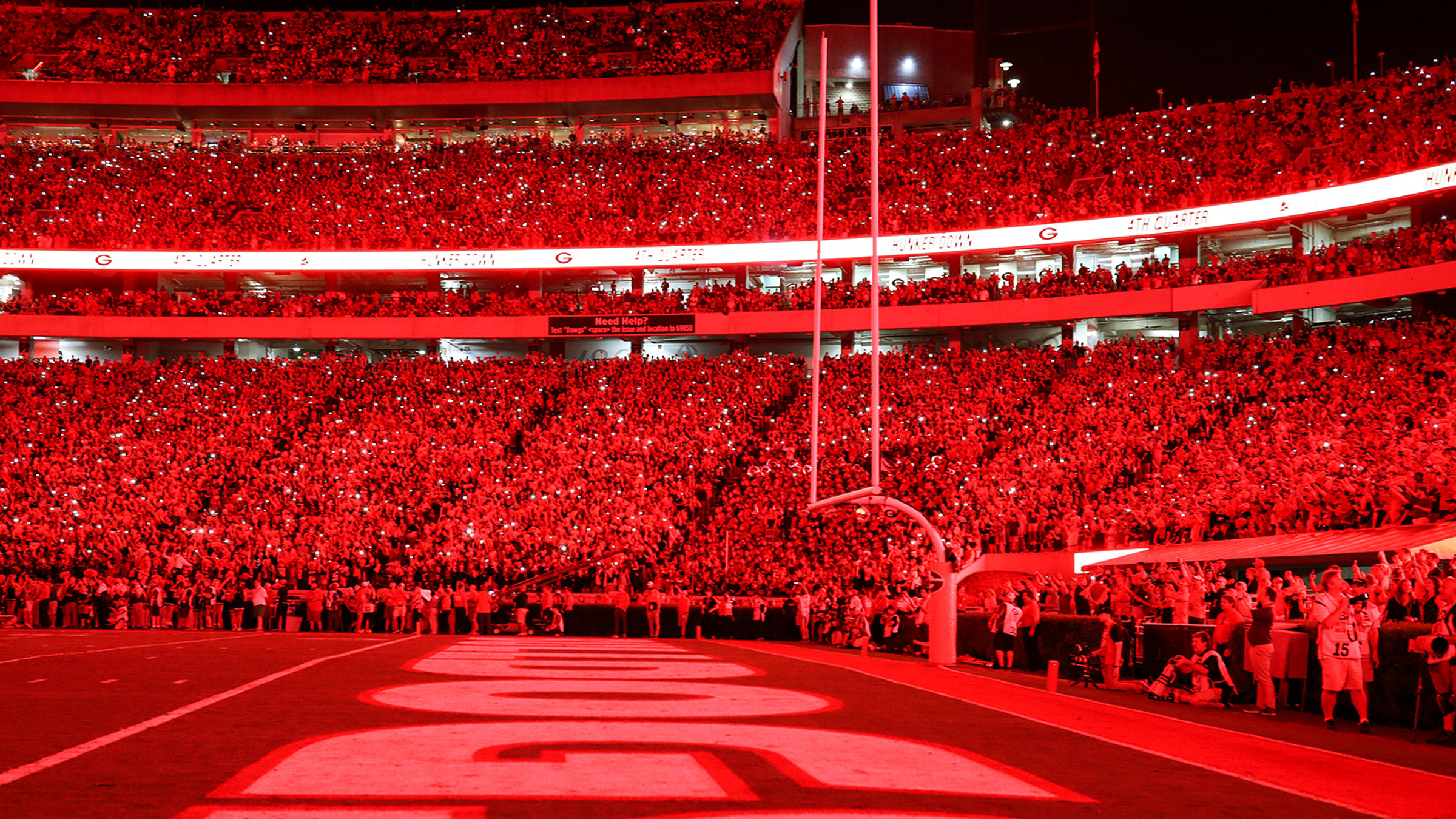 Georgia bulldog stadium with red out lights