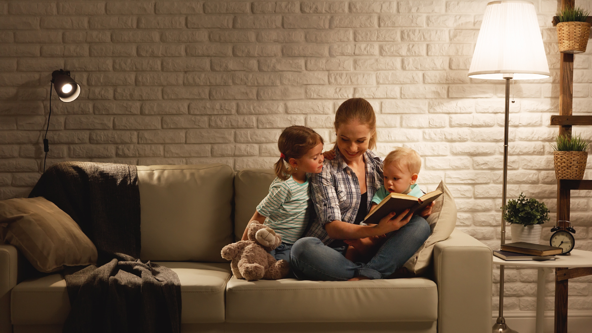 Add Smart Bulbs and Bridge to use Alexa or Google to dim lights before story time.