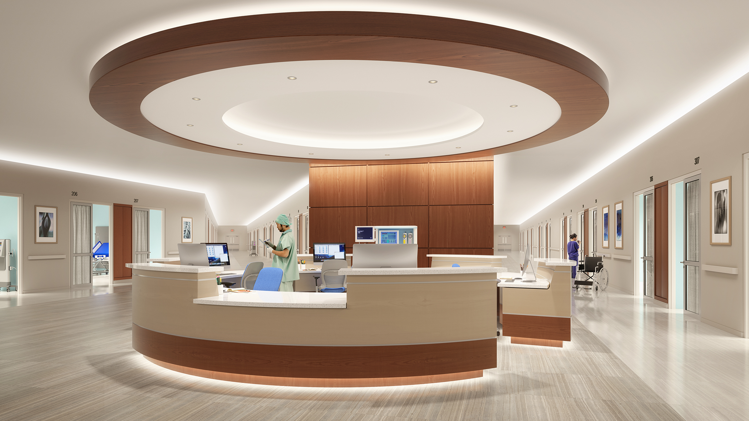CoviO architectural cove luminaires provide functional cove lighting in applications like hospital corridors that replace traditional fixtures with a hidden light source without glare.