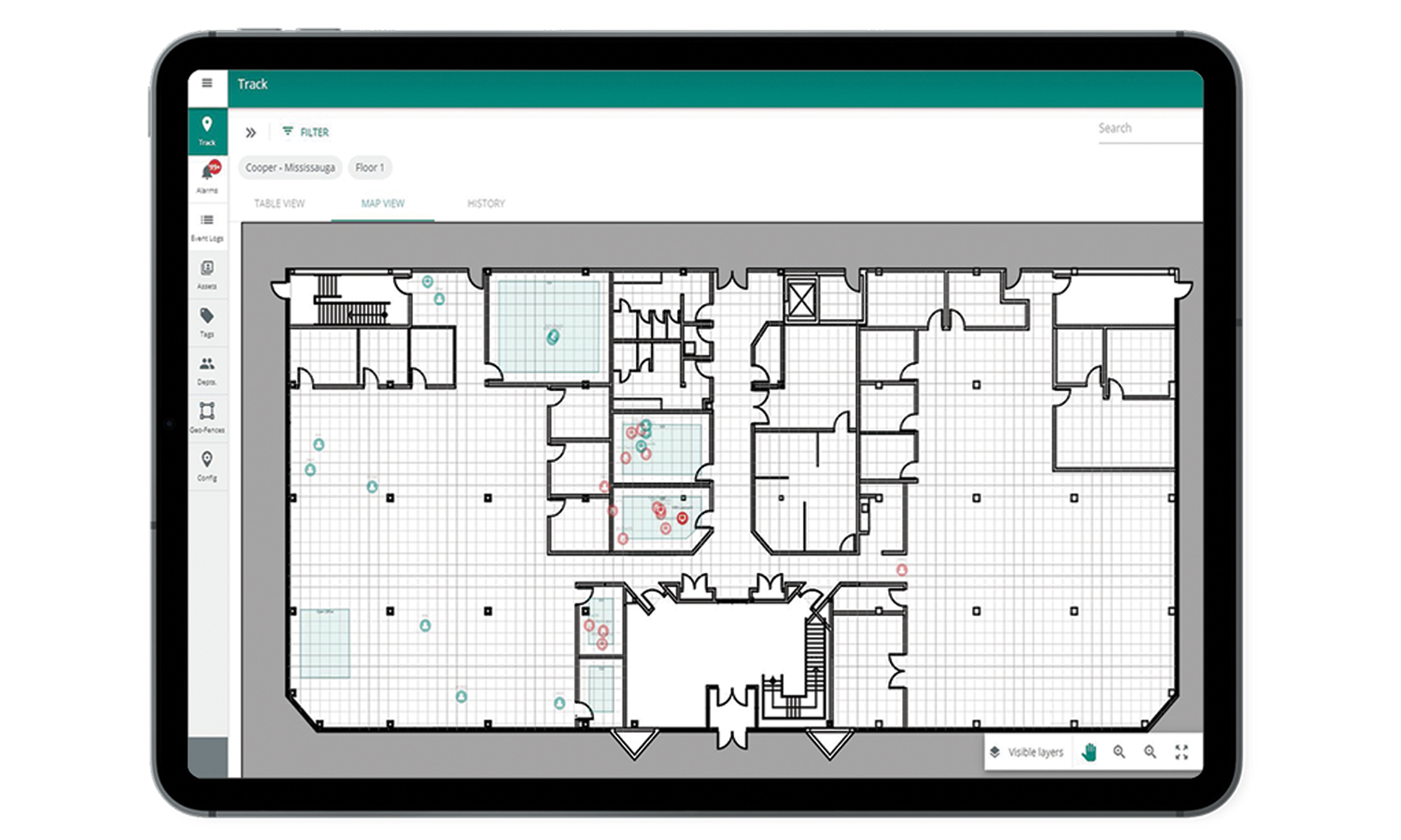 Trellix Locate Floor Map with Real-Time Employee Locations